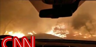 Family prays as they drive through wildfire