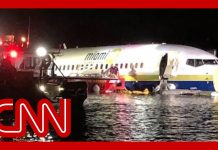 Plane skids off runway into river in Florida