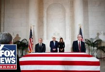 Trump, first lady pay their respects to late Justice Stevens